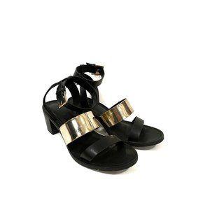Zara Trafaluc Black and Gold Strappy Heels